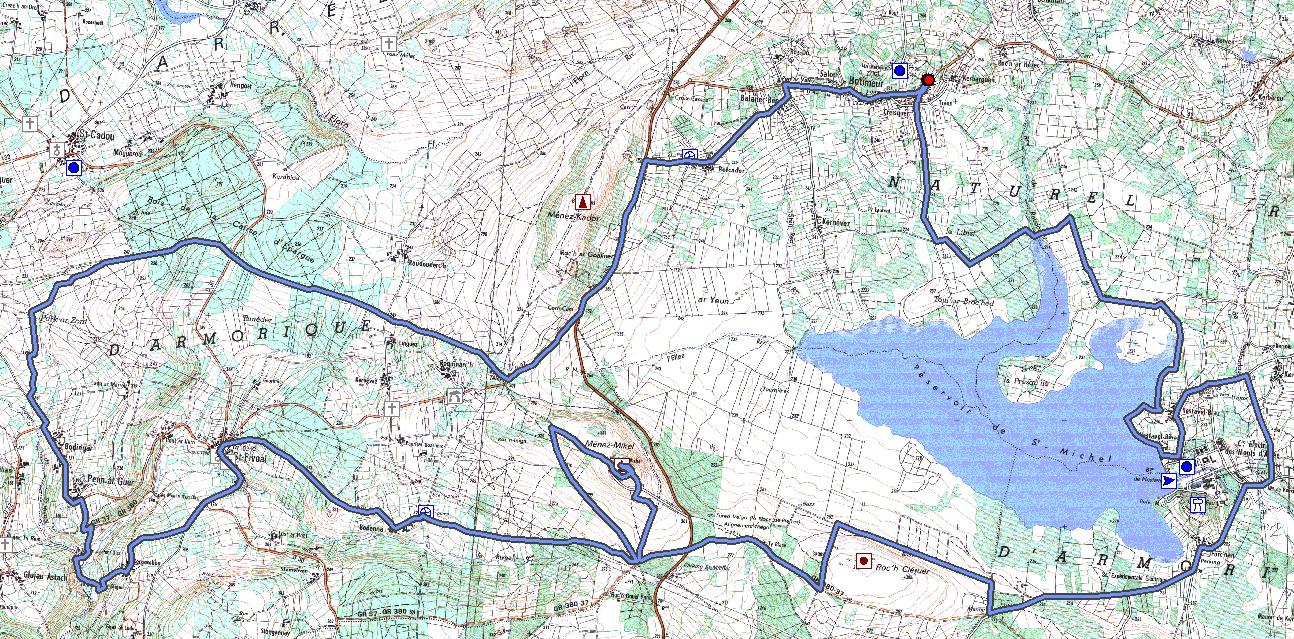 carte détaillée des monts d arrée Monts d'Arrée   Huelgoat
