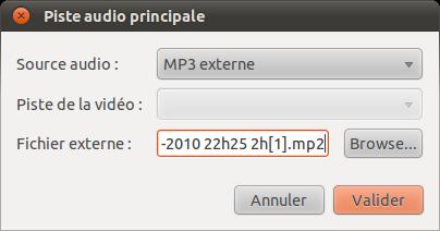 Fenêtre piste audio principale